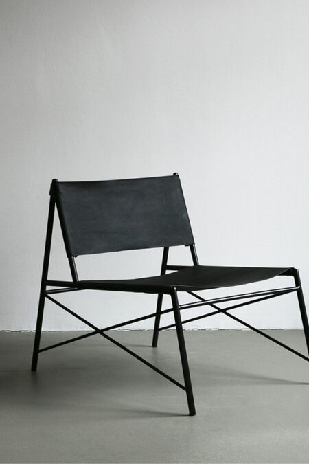 Black Eco Leather Lounge Chair by Nuts and Woods