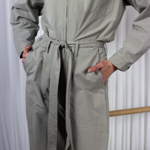 Comeover Women's Utility Belted Jumpsuit In Dove Grey