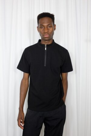 mock neck zip black