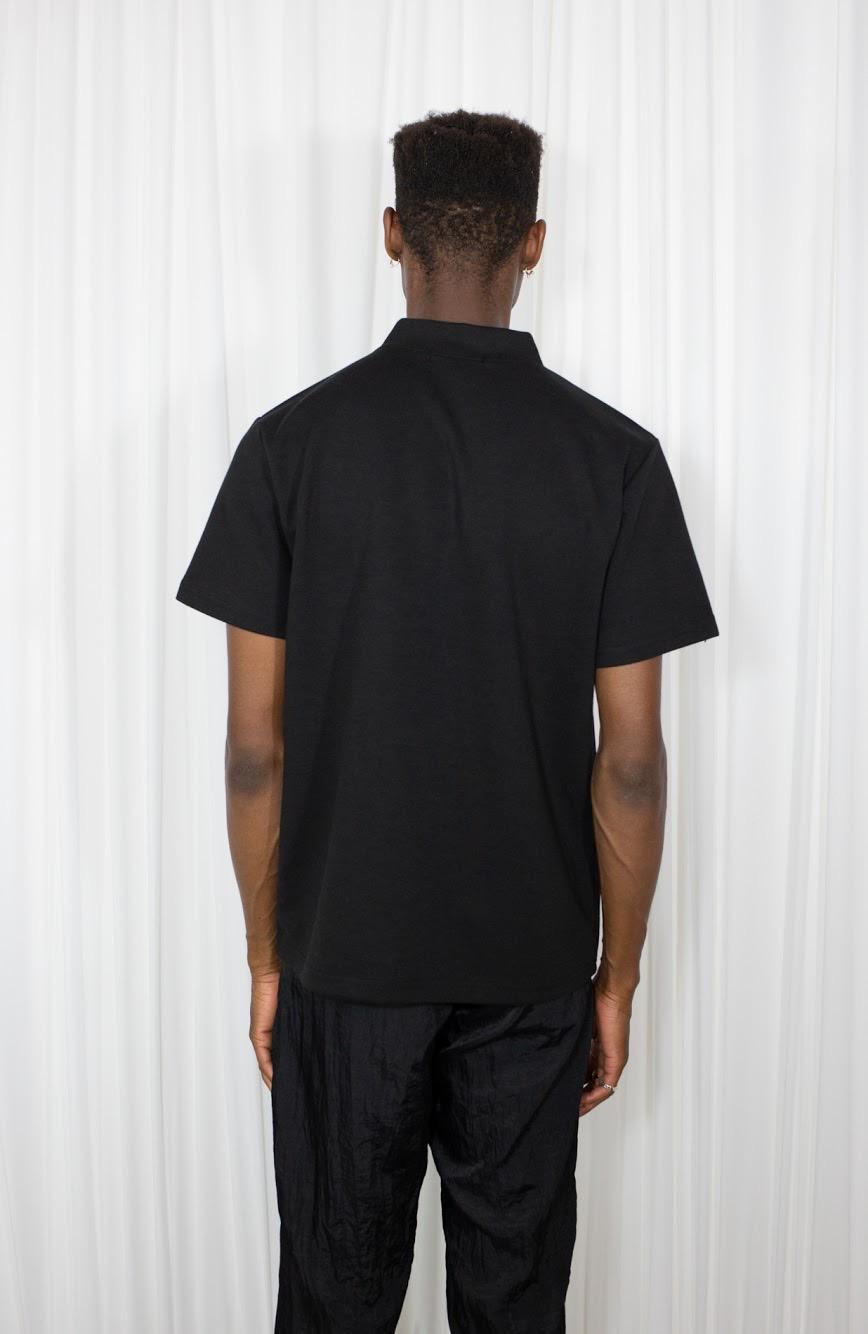 mock neck zip black