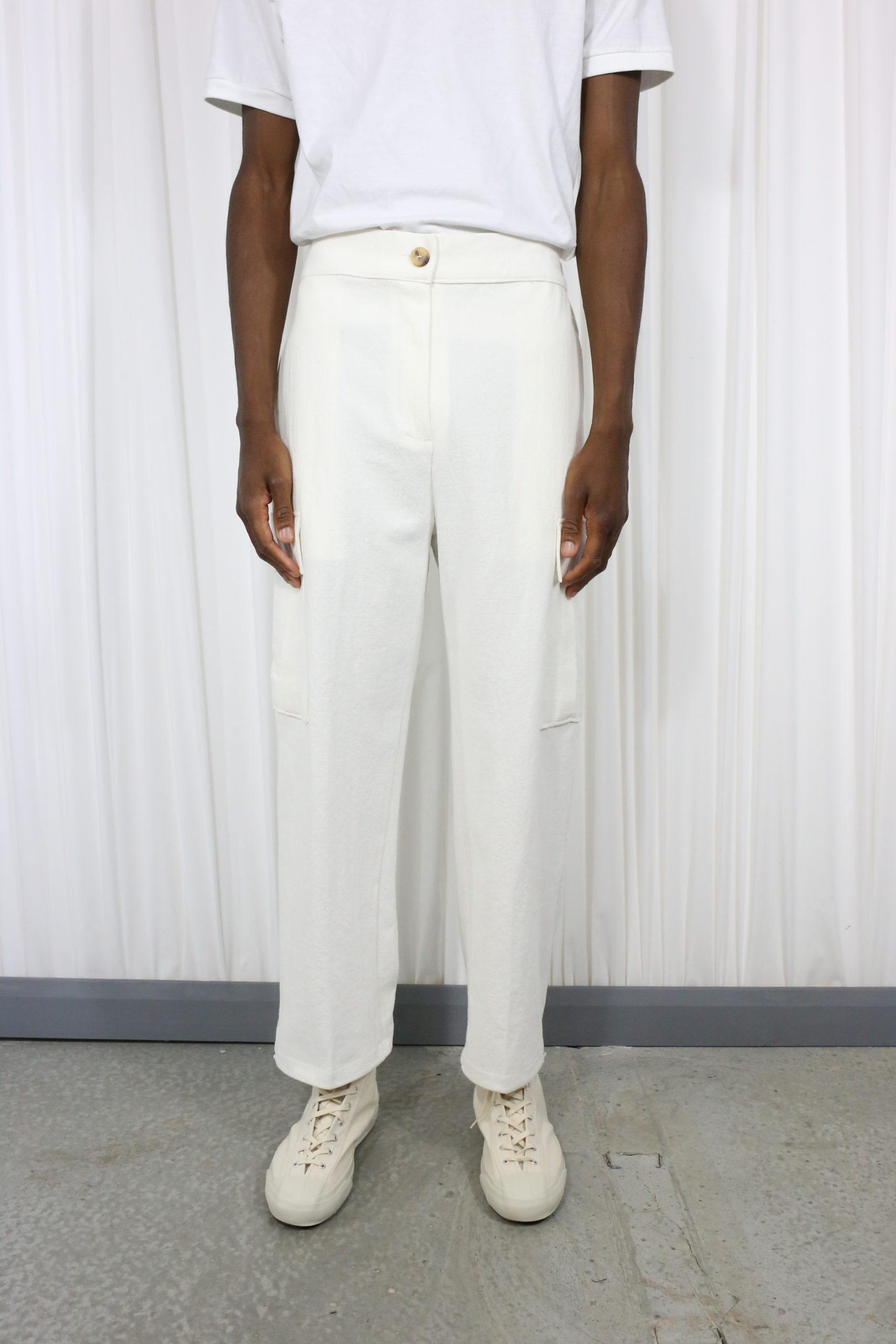 Linen Cargo Pants White