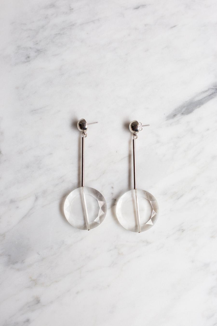 Clear Earring Silver