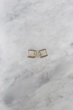 3D Square Earring Gold