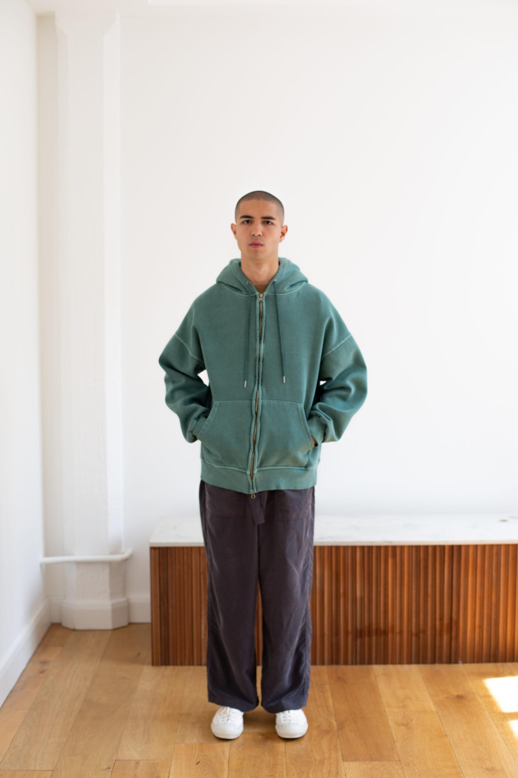 Essential Zip Hoodie in Green by Promise Land