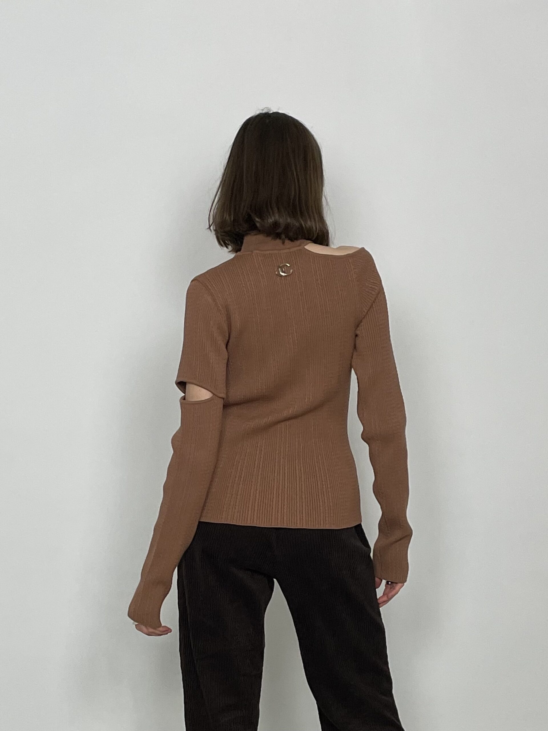 Andersson Bell jessica slit knit top light brown