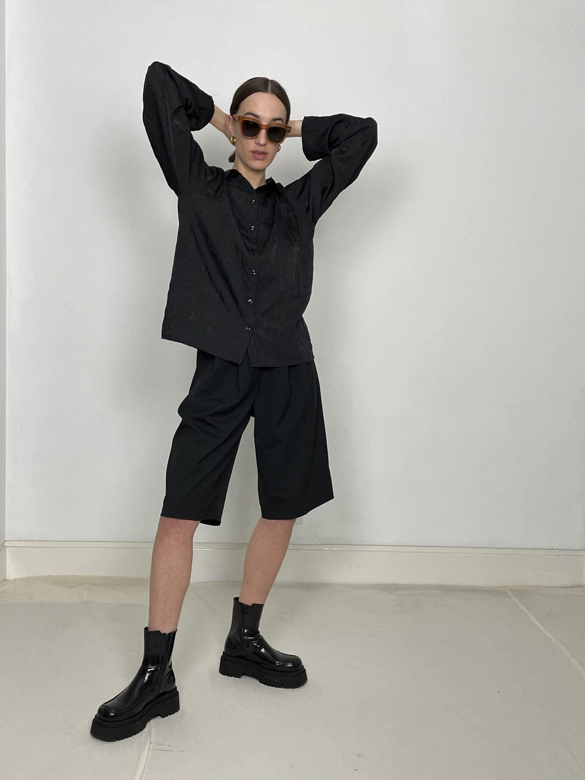 Cafe Noir ruffle blouse black