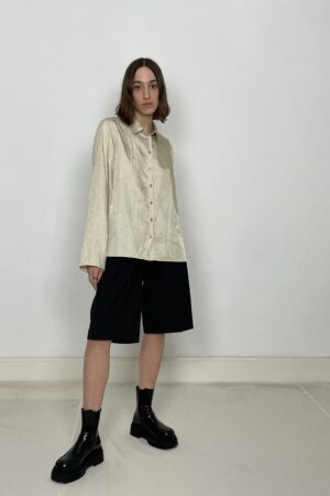 Cafe Noir ruffle blouse khaki