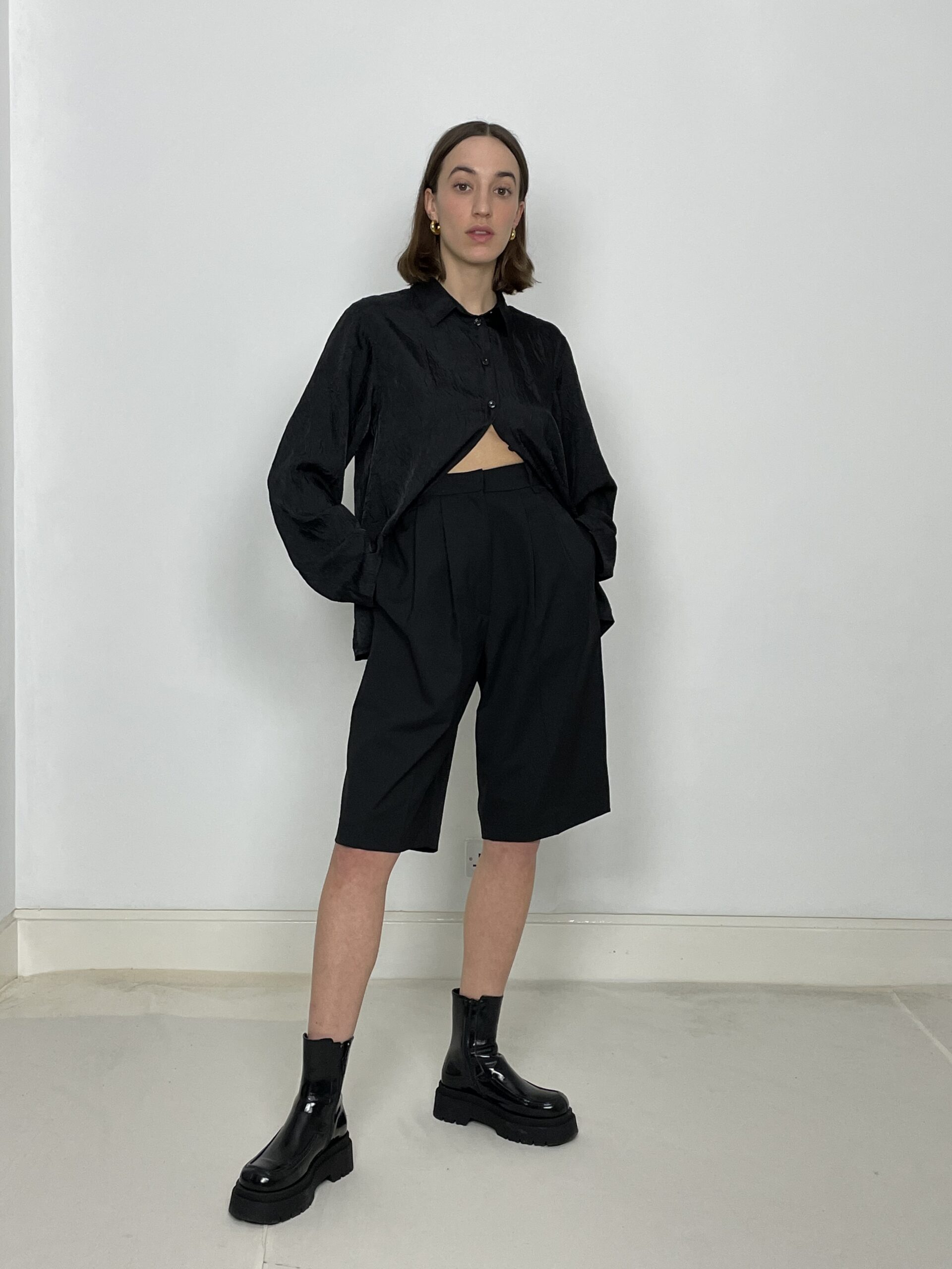 Statement tech shorts in black