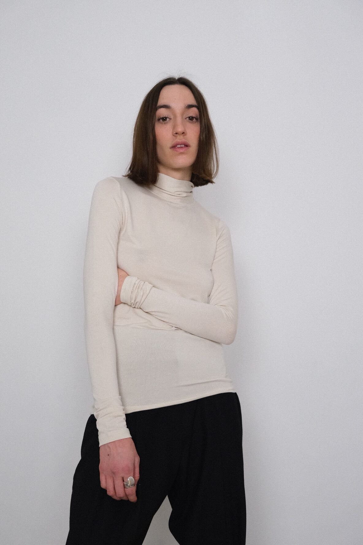 Table Knotted High Neck in Ivory