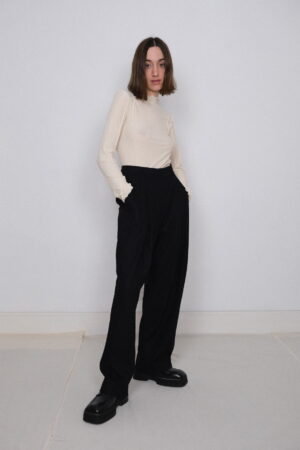 Table Pleated Trousers Black
